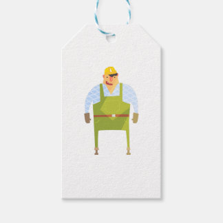 Builder In Hard Hat On Construction Site Gift Tags