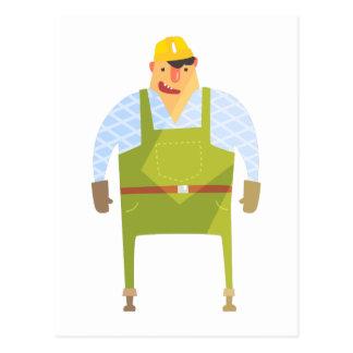 Builder In Hard Hat On Construction Site Postcard