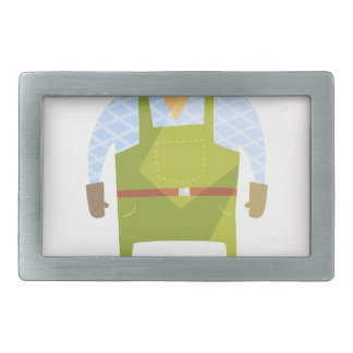 Builder In Hard Hat On Construction Site Rectangular Belt Buckle