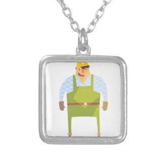 Builder In Hard Hat On Construction Site Silver Plated Necklace
