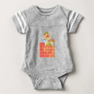 Builder Laying A Brick Wall On Construction Site Baby Bodysuit