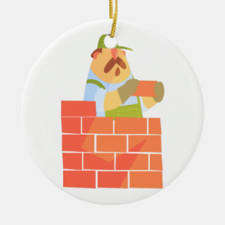 Builder Laying A Brick Wall On Construction Site Ceramic Ornament