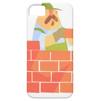 Builder Laying A Brick Wall On Construction Site iPhone 5 Covers