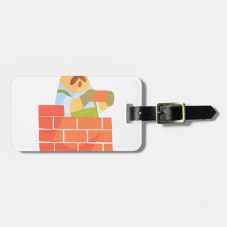Builder Laying A Brick Wall On Construction Site Luggage Tag