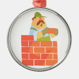 Builder Laying A Brick Wall On Construction Site Metal Ornament