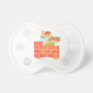 Builder Laying A Brick Wall On Construction Site Pacifier
