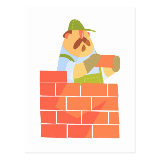 Builder Laying A Brick Wall On Construction Site Postcard
