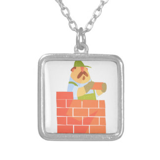 Builder Laying A Brick Wall On Construction Site Silver Plated Necklace