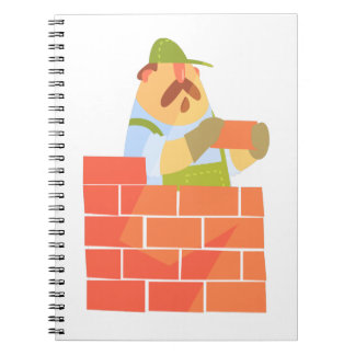 Builder Laying A Brick Wall On Construction Site Spiral Notebook