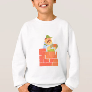 Builder Laying A Brick Wall On Construction Site Sweatshirt