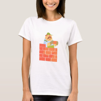Builder Laying A Brick Wall On Construction Site T-Shirt
