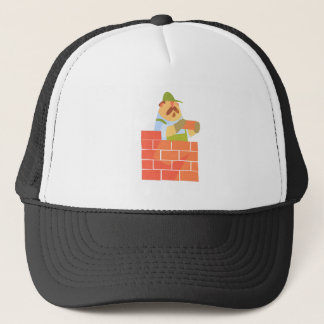 Builder Laying A Brick Wall On Construction Site Trucker Hat