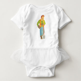 Builder Leaning On Spade On Construction Site Baby Bodysuit