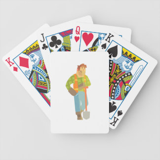 Builder Leaning On Spade On Construction Site Bicycle Playing Cards