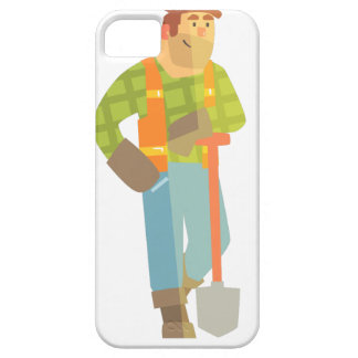 Builder Leaning On Spade On Construction Site Case For The iPhone 5
