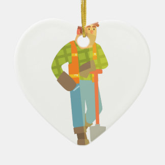 Builder Leaning On Spade On Construction Site Ceramic Ornament