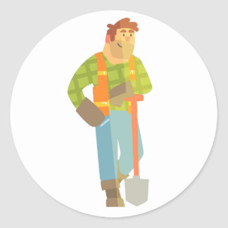 Builder Leaning On Spade On Construction Site Classic Round Sticker
