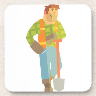 Builder Leaning On Spade On Construction Site Coaster