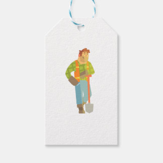Builder Leaning On Spade On Construction Site Gift Tags