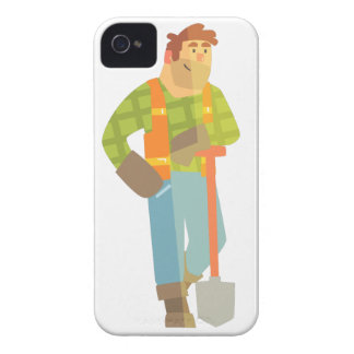 Builder Leaning On Spade On Construction Site iPhone 4 Case-Mate Case