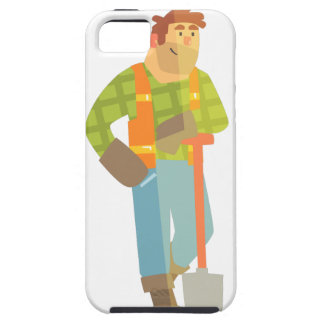 Builder Leaning On Spade On Construction Site iPhone 5 Case
