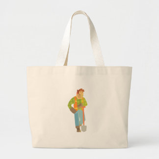 Builder Leaning On Spade On Construction Site Large Tote Bag