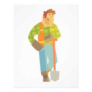 Builder Leaning On Spade On Construction Site Letterhead