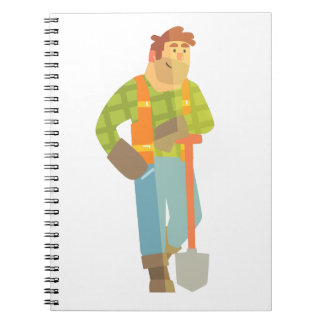 Builder Leaning On Spade On Construction Site Notebook
