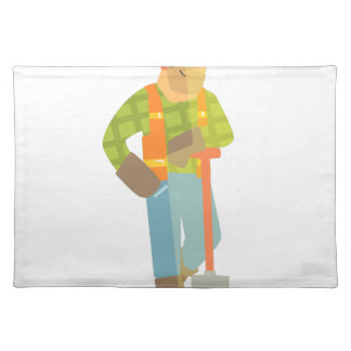 Builder Leaning On Spade On Construction Site Placemat