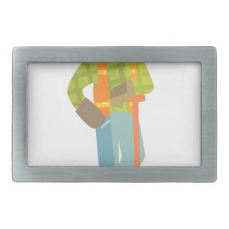 Builder Leaning On Spade On Construction Site Rectangular Belt Buckle