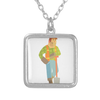 Builder Leaning On Spade On Construction Site Silver Plated Necklace