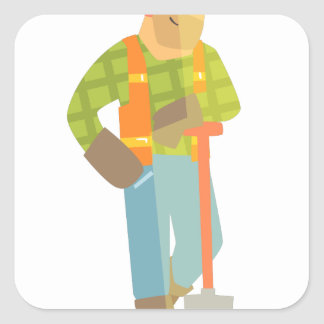 Builder Leaning On Spade On Construction Site Square Sticker