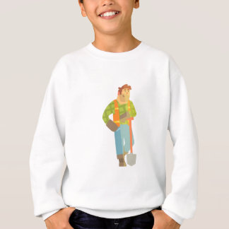 Builder Leaning On Spade On Construction Site Sweatshirt
