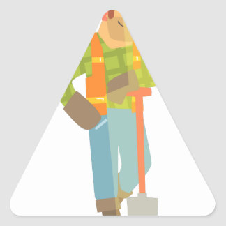 Builder Leaning On Spade On Construction Site Triangle Sticker