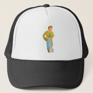 Builder Leaning On Spade On Construction Site Trucker Hat