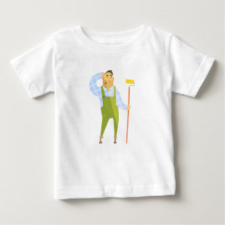 Builder Scratching Head On Construction Site Baby T-Shirt