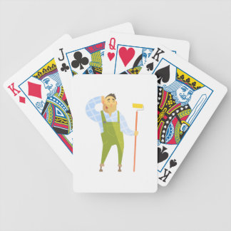 Builder Scratching Head On Construction Site Bicycle Playing Cards