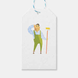 Builder Scratching Head On Construction Site Gift Tags