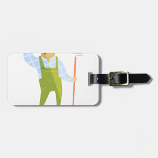 Builder Scratching Head On Construction Site Luggage Tag