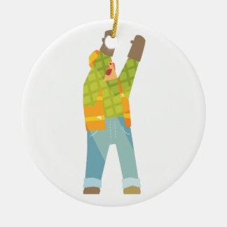 Builder Signaling On Construction Site Ceramic Ornament