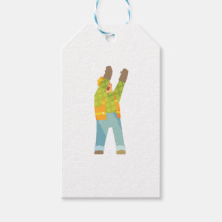 Builder Signaling On Construction Site Gift Tags