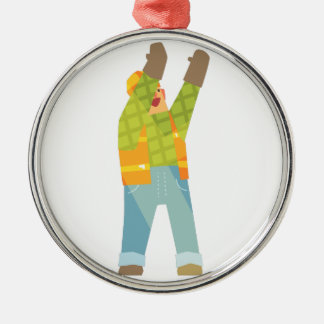 Builder Signaling On Construction Site Metal Ornament