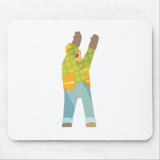 Builder Signaling On Construction Site Mouse Pad