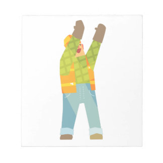 Builder Signaling On Construction Site Notepad