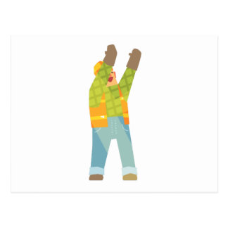 Builder Signaling On Construction Site Postcard