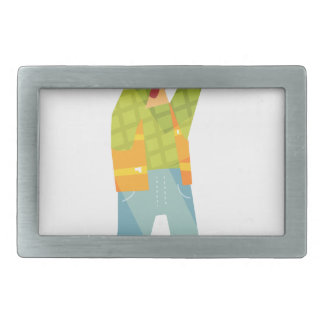 Builder Signaling On Construction Site Rectangular Belt Buckle