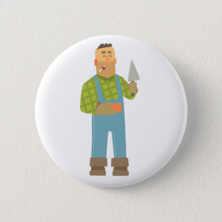 Builder With Brick And Trowel On Construction Site 2 Inch Round Button