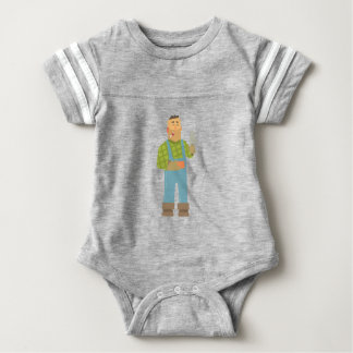 Builder With Brick And Trowel On Construction Site Baby Bodysuit