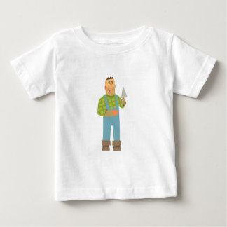 Builder With Brick And Trowel On Construction Site Baby T-Shirt