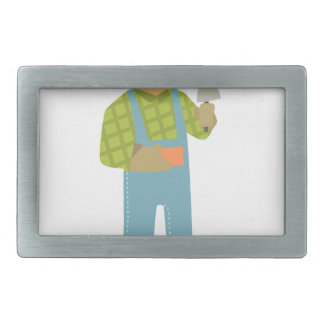Builder With Brick And Trowel On Construction Site Belt Buckles